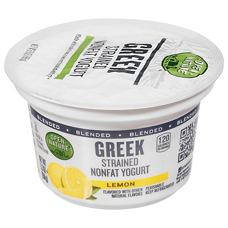 Open Nature Greek Yogurt 0% Milk Fat Lemon - 6 Oz