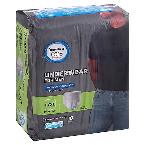 Signature Care Underwear For Men Maximum Absorbency L/XL - 18 Count