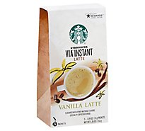 Starbucks VIA Instant Coffee Latte Vanilla Packets - 5-1.09 Oz