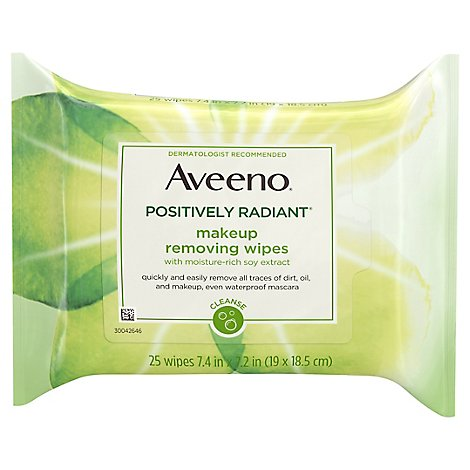 Aveeno Active Naturals Positively Radiant Makeup Removing Wipes - 25 Count