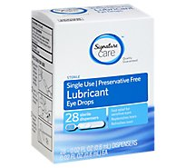 Signature Care Preservative Free Lubricant Eye Drops Single Use - 28 Count