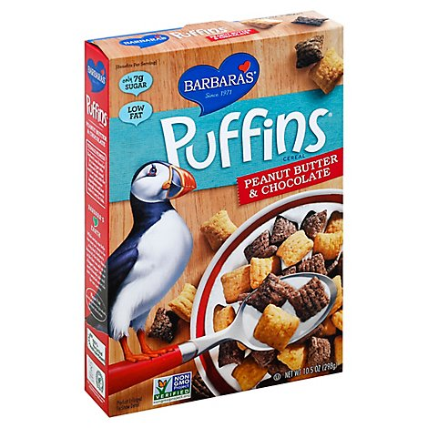 Barbaras Puffins Cereal Peanut Butter & Chocolate - 10.5 Oz