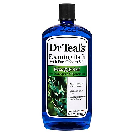 Dr Teals Foaming Bath Epsom Salt Pure Relax & Relief With Eucalyptus & Spearmint - 34 Fl. Oz.