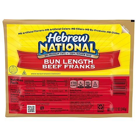 Hebrew National Franks Beef Bun Length - 12 Oz