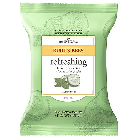 Burts Bees Towelettes Facial Cleansing with Cucumber & Sage Extracts - 30 Count