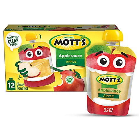 Motts Applesauce clear pouches - 12-3.2 Oz