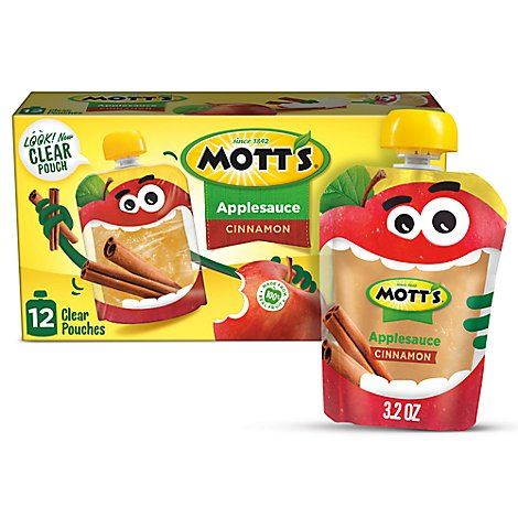 Motts Applesauce Cinnamon Clear Pouches - 12-3.2 Oz