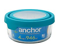 Anchor 4 Cup Round Trueseal Food Storage Glass - Each