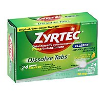 ZYRTEC Allergy Antihistamine Dissolve Tabs Original Prescription Strength 10 mg Citrus - 24 Count