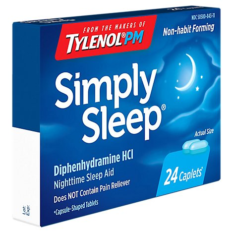 Simply Sleep Caplets Nighttime Sleep Aid - 24 Count