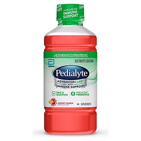 Pedialyte AdvancedCare Electrolyte Solution Cherry Punch - 33.8 Fl. Oz.