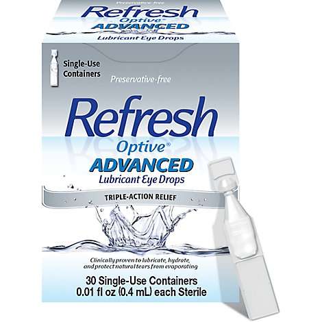 Refresh Optive Lubricant Eye Drops Advanced Triple-Action Relief Single-Use - 0.01 Fl. Oz.
