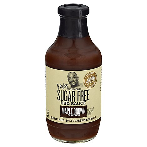 G Hughes Smokehouse Sauce BBQ Sugar Free Maple Brown Flavored - 18 Oz