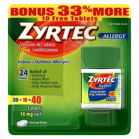 ZYRTEC Allergy Antihistamine 10 mg Tablets Bonus - 40 Count