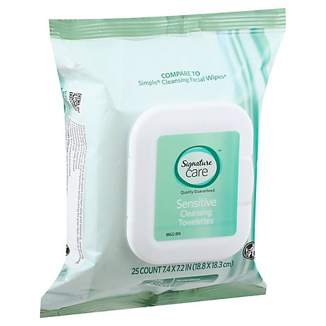 Signature Care Towelette Cleansing Makeup Remover Sensitive - 25 Count