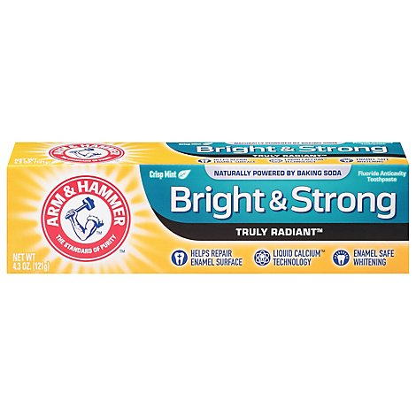 ARM & HAMMER Truly Radiant Toothpaste Fluoride Anticavity Bright & Strong Crisp Mint - 4.3 Oz