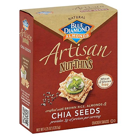 Blue Diamond Nut-Thins Cracker Snacks Artisan Brown RiceAlmonds & Chia Seeds - 4.25 Oz