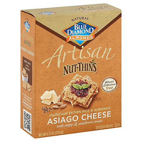 Blue Diamond Nut-Thins Cracker Snacks Artisan Asiago Cheese - 4.25 Oz