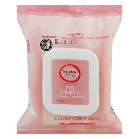 Signature Care Towelette Cleansing Pink Grapefruit - 25 Count