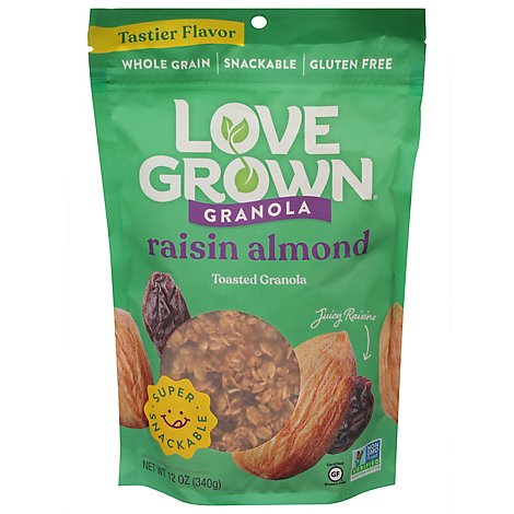 Love Grown Oat Clusters Toasted Granola Raisin Almond Crunch - 12 Oz