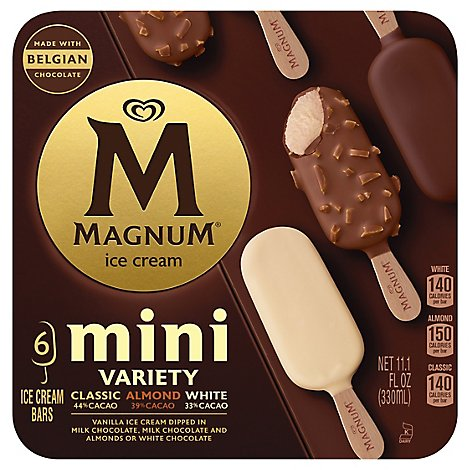 Magnum Ice Cream Bar Mini Classic Almond & White - 6 Count