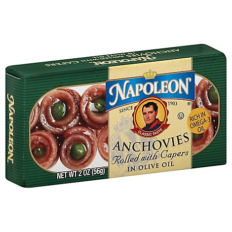 Napoleon Anchovies Rolled With Capers in Olive Oil - 2 Oz