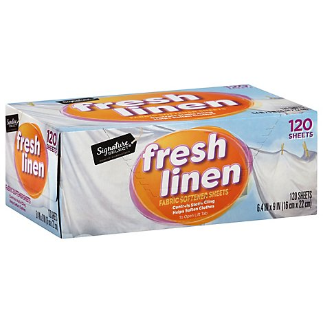 Signature SELECT Fabric Softener Sheets Fresh Linen Box - 120 Count