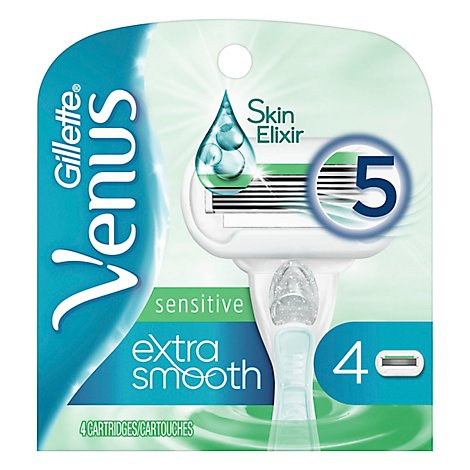 Gillette Venus Extra Smooth Sensitive Womens Blade Refill - 4 Count