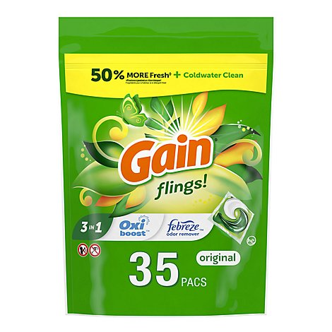 Gain flings! Laundry Detergent Liquid Pacs HE Compatible Original Scent - 35 Count