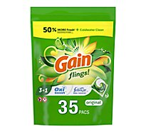 Gain Flings Liquid Laundry Detergent Pacs HE Compatible Original Scent - 35 Count