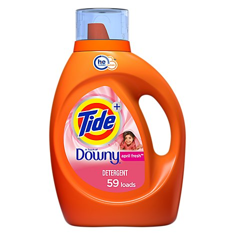 Tide Plus Laundry Detergent Liquid HE Turbo Clean Downy April Fresh 59 Loads - 92 Fl. Oz.