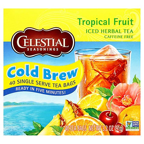 Celestial Seasonings Herbal Tea Caffeine Free Cool Brew Iced Tropical Fruit - 40 Count