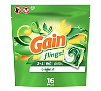 Gain Flings Liquid Laundry Detergent Pacs HE Compatible Original Scent - 16 Count