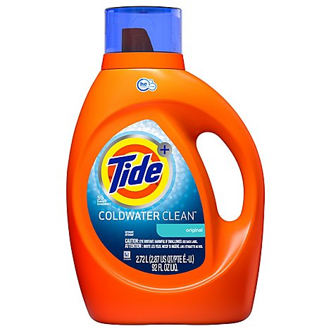 Tide Plus Laundry Detergent Liquid Coldwater Clean Original Jug - 92 Fl. Oz.