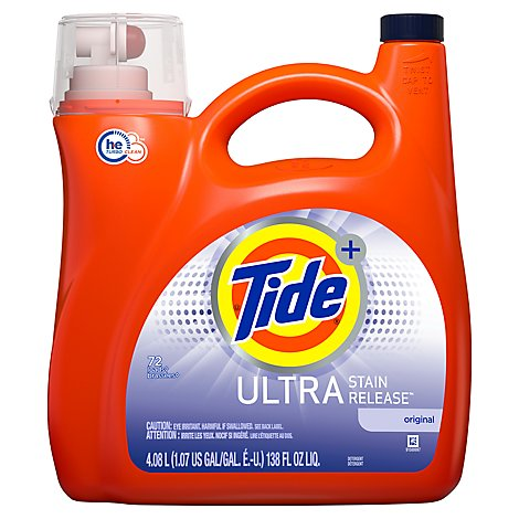 Tide Plus Ultra Laundry Detergent Liquid Stain Release HE Turbo Clean Original - 138 Fl. Oz.