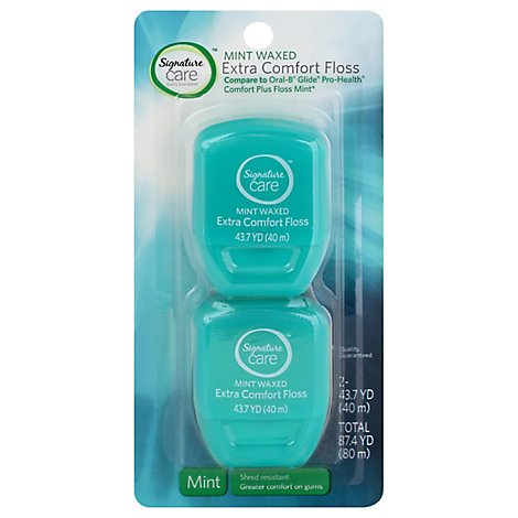 Signature Care Floss Extra Comfort Mint Waxed - 2 Count