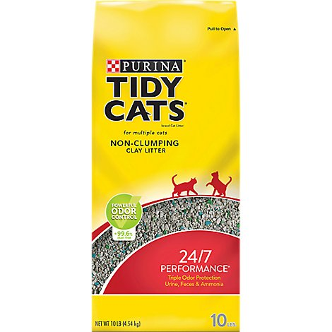 Tidy Cats Cat Litter 24/7 Performance Non-Clumping Clay For Multiple Cats Bag - 10 Lb
