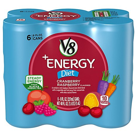 V8 V-Fusion +Energy Vegetable & Fruit Juice Diet Cranberry Raspberry Flavored - 6-8 Fl. Oz.