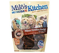 Milos Kitchen Dog Treats Home Style Steak Grillers Recipe With Angus Steak Pouch - 18 Oz