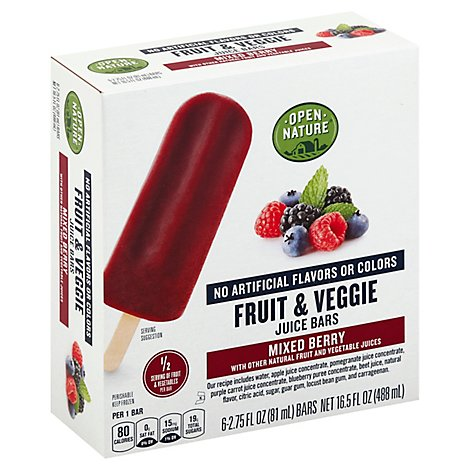 Open Nature Bars Fruit And Veggie Mixed Berry - 6-2.75 Fl. Oz.