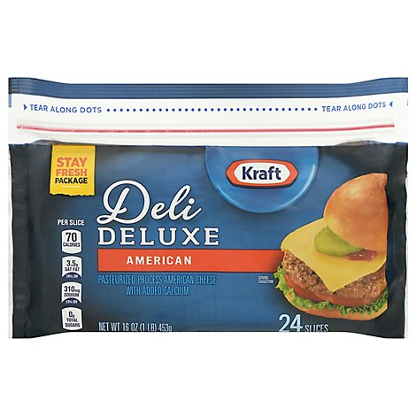 Kraft Deli Deluxe Cheese Slices American 24 Slices - 16 Oz