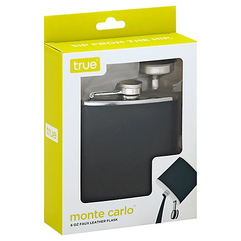 Monte Carlo 6 Oz Black Flask With Funnel - Each