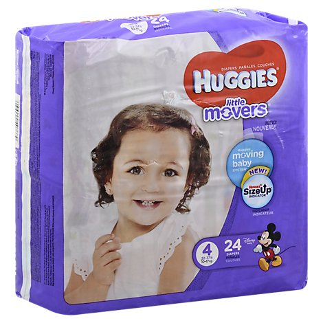 Huggies Little Movers Diapers Size 4 Jumbo Pack - 24 Count
