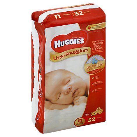Huggies Little Snugglers Diapers Newborn Jumbo Pack - 32 Count
