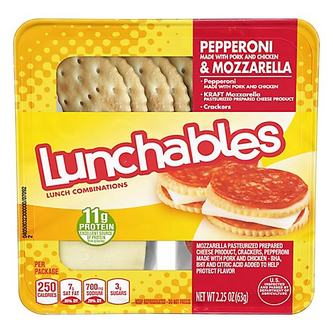 Lunchables Lunch Combinations Pepperoni & Mozzarella Made With Pork Chicken & Beef - 2.25 Oz