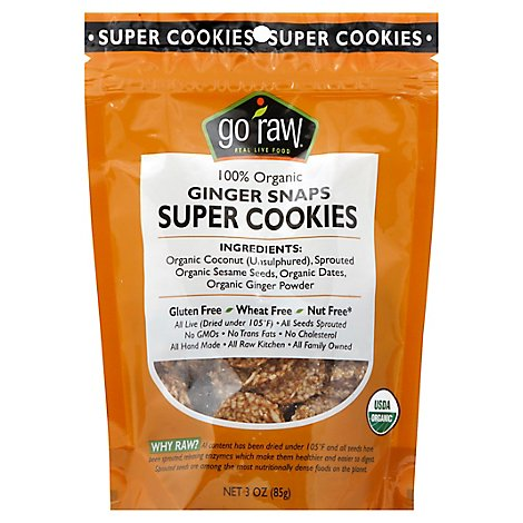 Go Raw Super Cookies Organic Ginger Snaps - 3 Oz