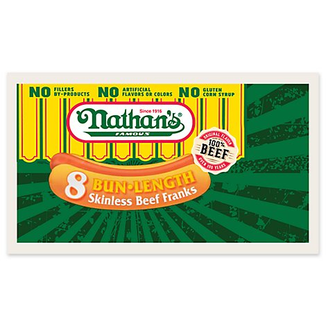 Nathans Famous Beef Franks Skinless Bun Length 8 Count - 12 Oz