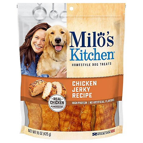 Milos Kitchen Dog Treats Home Style Chicken Jerky Recipe Pouch - 15 Oz