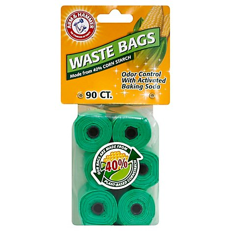 ARM & HAMMER Waste Bags Biodegradable 33% More 6 Rolls Bag - 90 Count