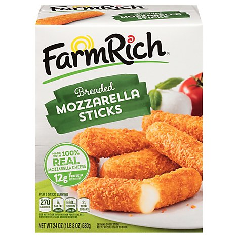 Farm Rich Snacks Mozzarella Sticks Breaded - 24 Oz